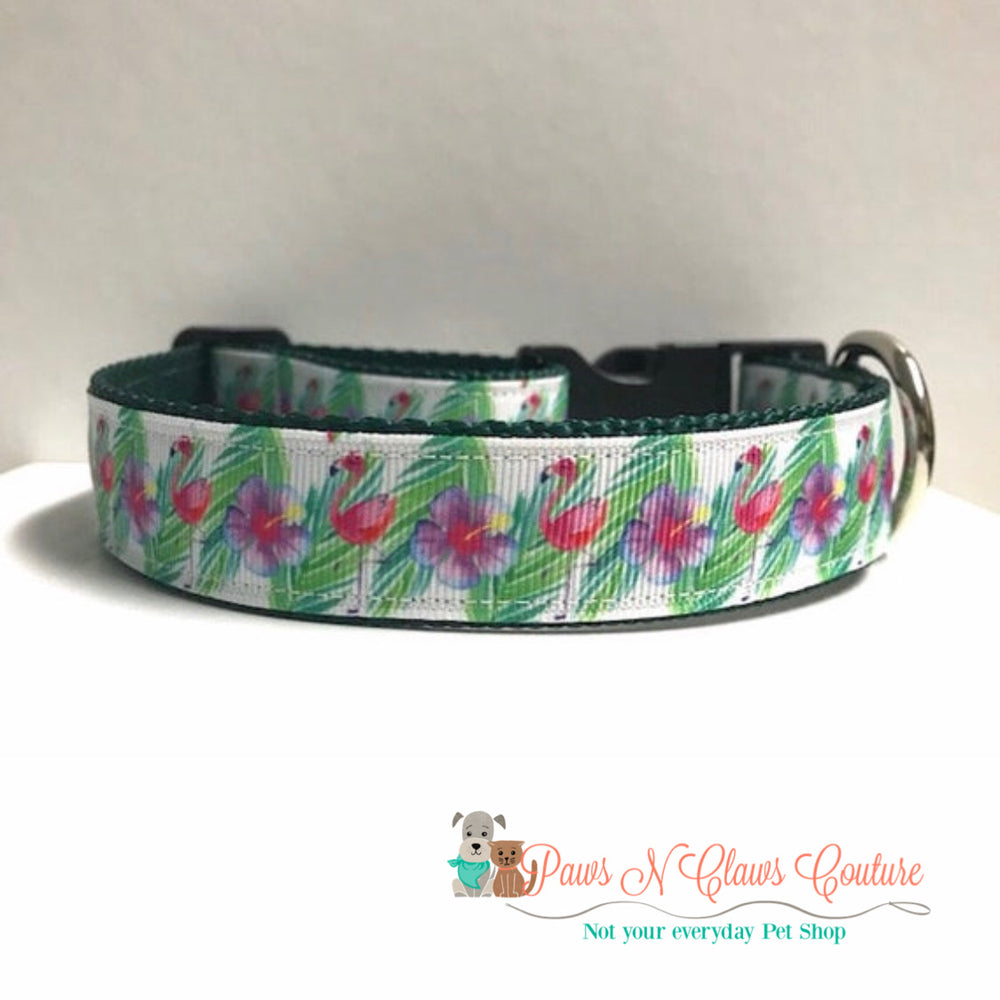 "1"" Tropical flamingo Dog Collar - Paws N Claws Couture"