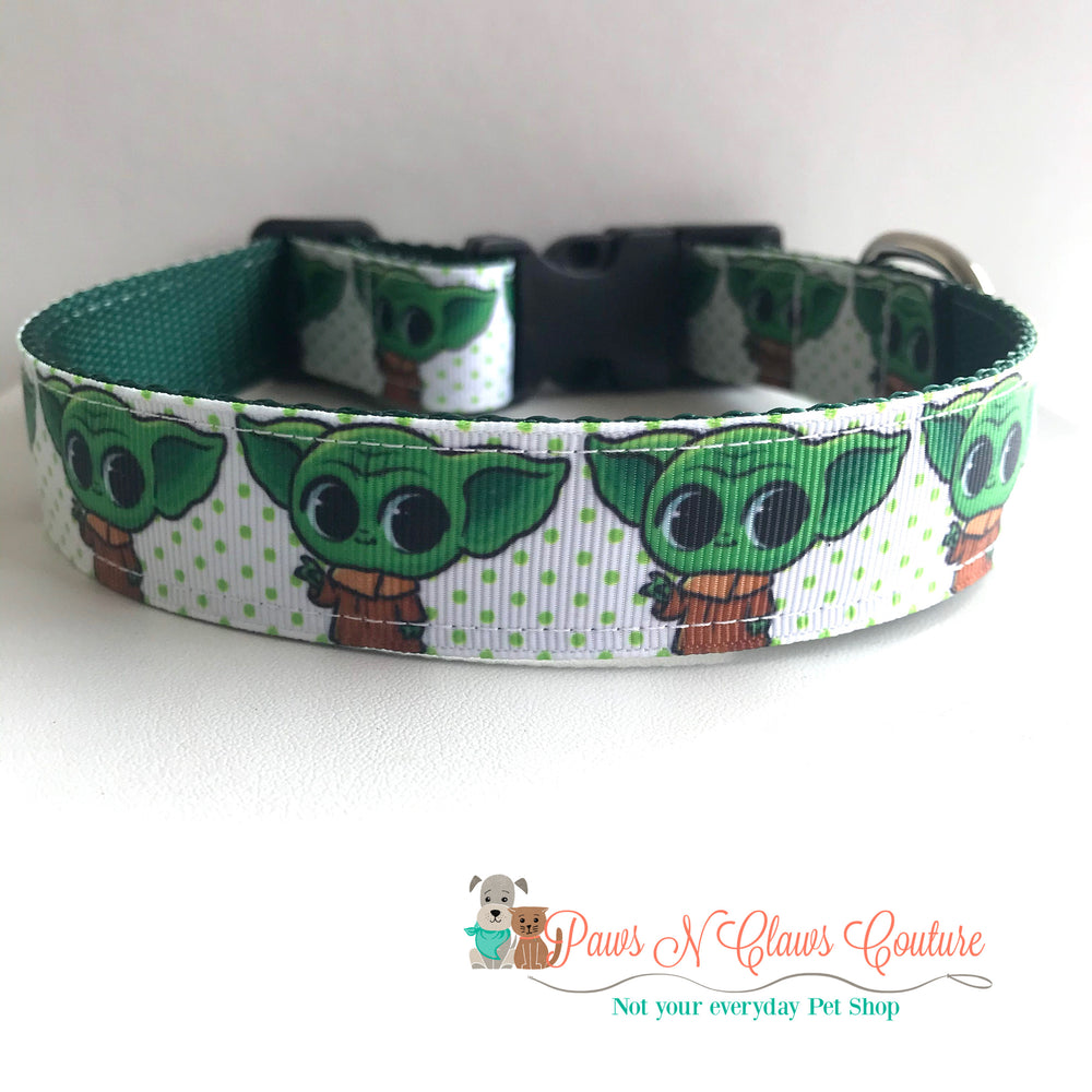 "1"" Baby Yoda inspired Dog Collar"