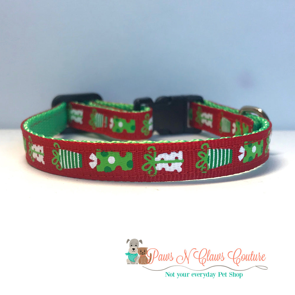 "3/8"" Presents Cat or Small Dog Collar - Paws N Claws Couture"