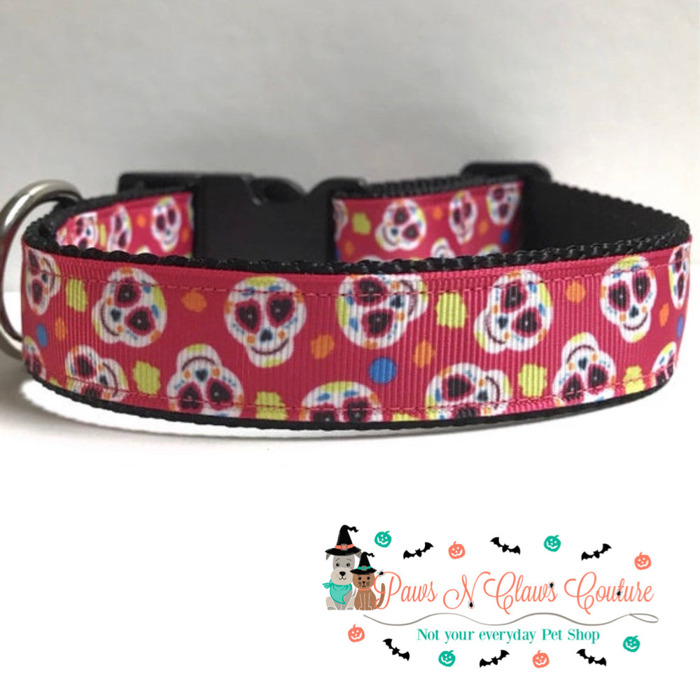 "1"" Sugar skulls on pink Dog Collar - Paws N Claws Couture"
