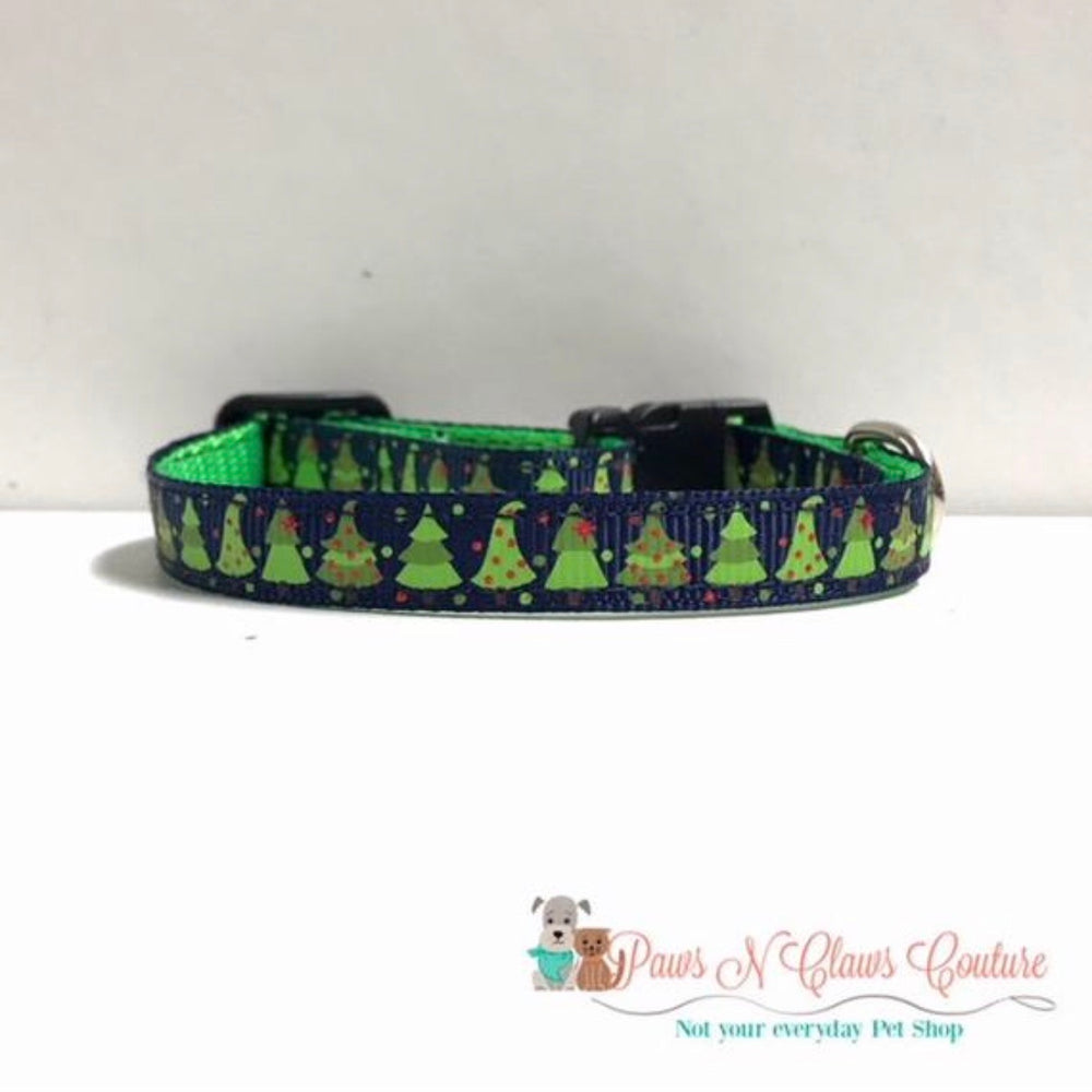 "3/8"" Trees in navy Cat or Small Dog Collar"