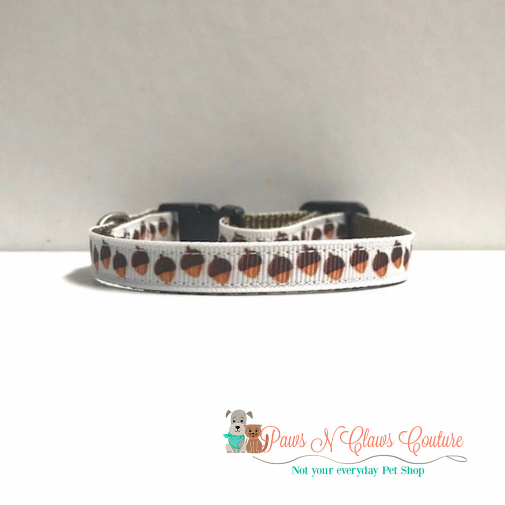 "3/8"" Fall Acorns Cat or Small Dog Collar - Paws N Claws Couture"