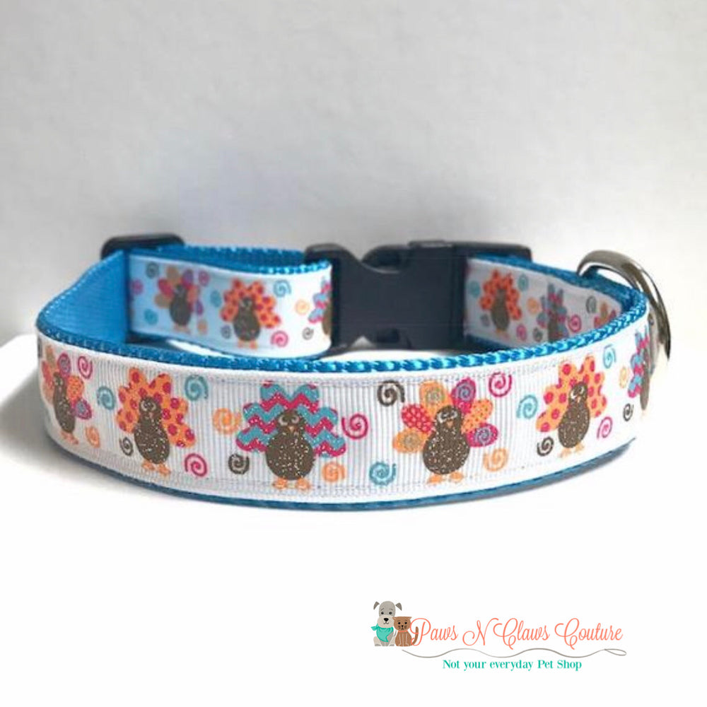 "1""  turkeys and swirls (blue) Dog Collar - Paws N Claws Couture"