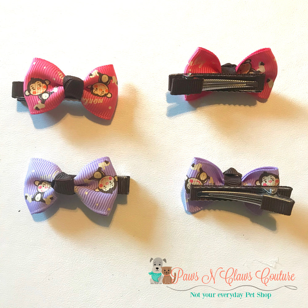 Monkeys Hair Clip - Paws N Claws Couture
