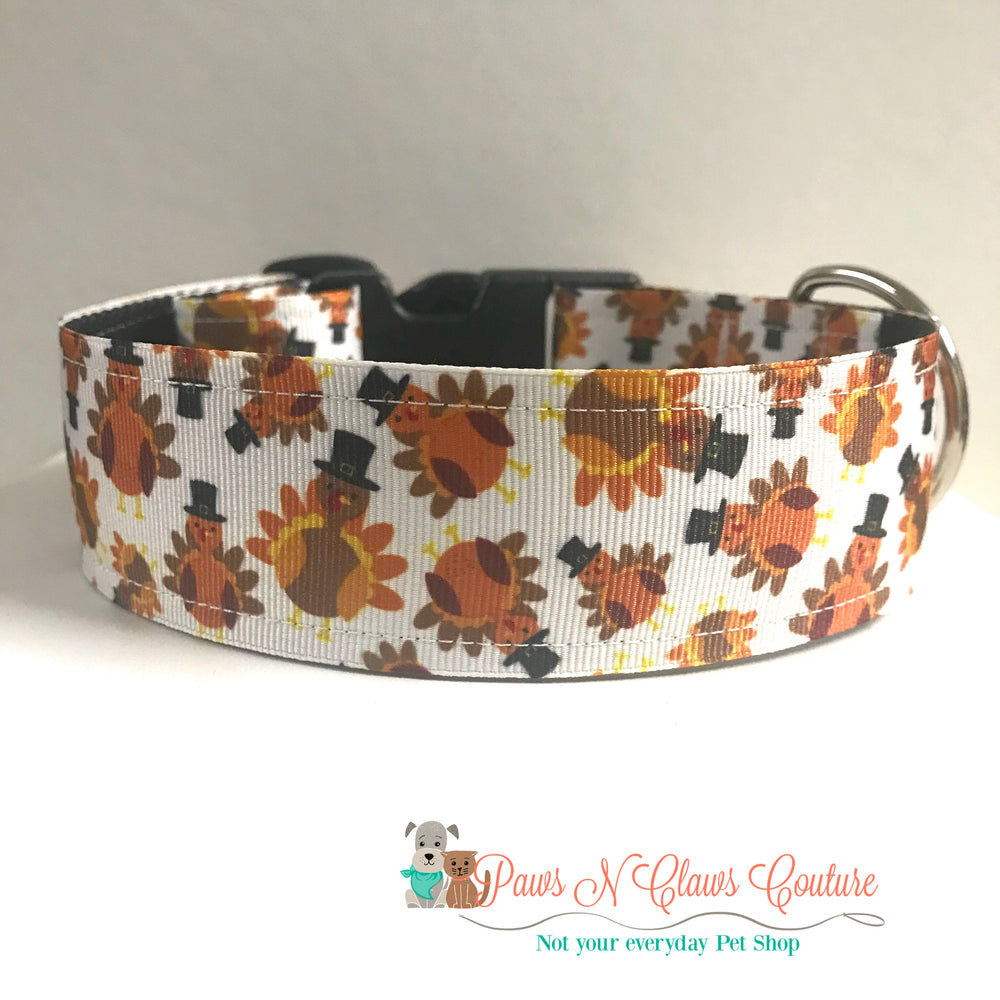 "1.5"" Pilgrim turkeys Dog Collar"