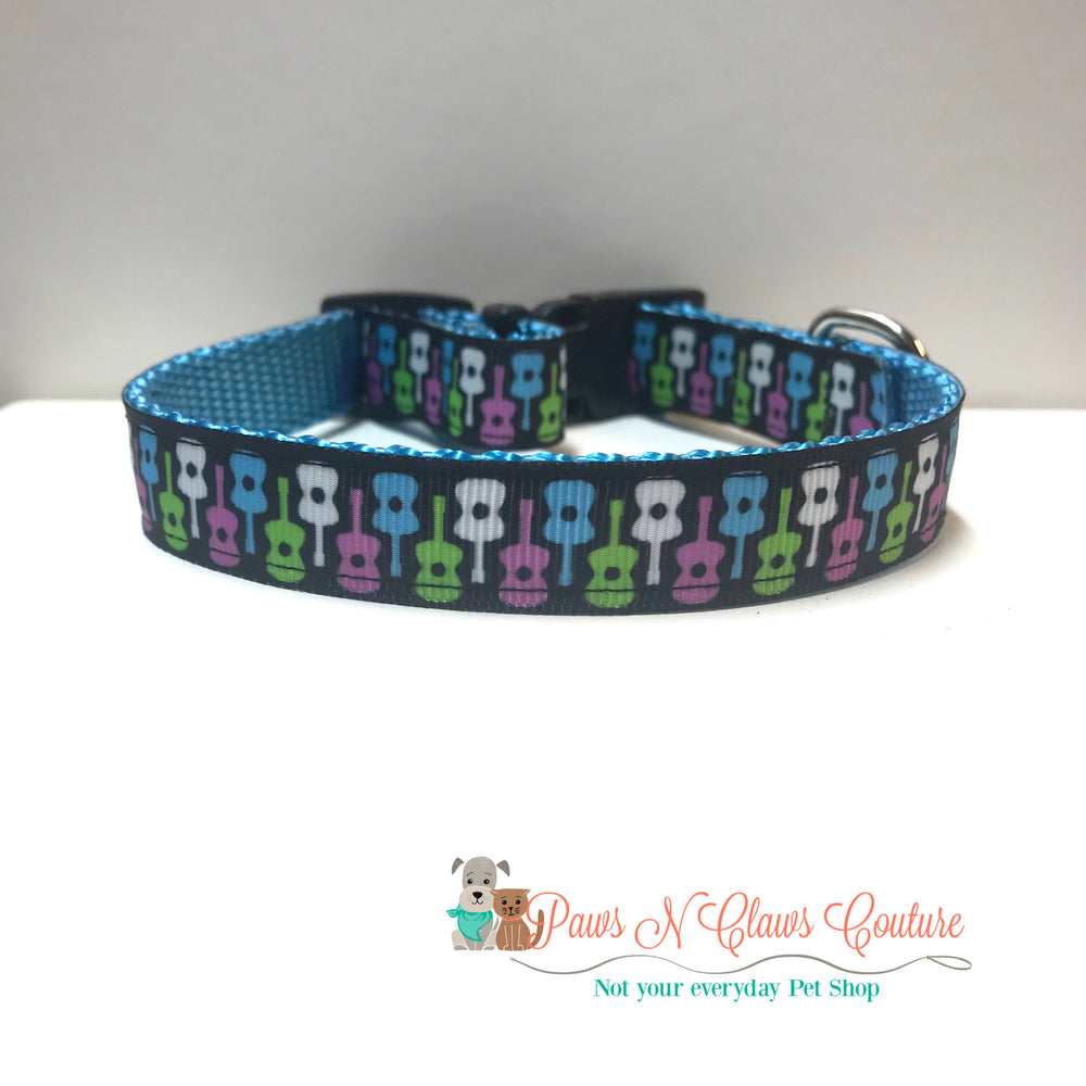 "5/8"" Guitars Dog Collar - Paws N Claws Couture"