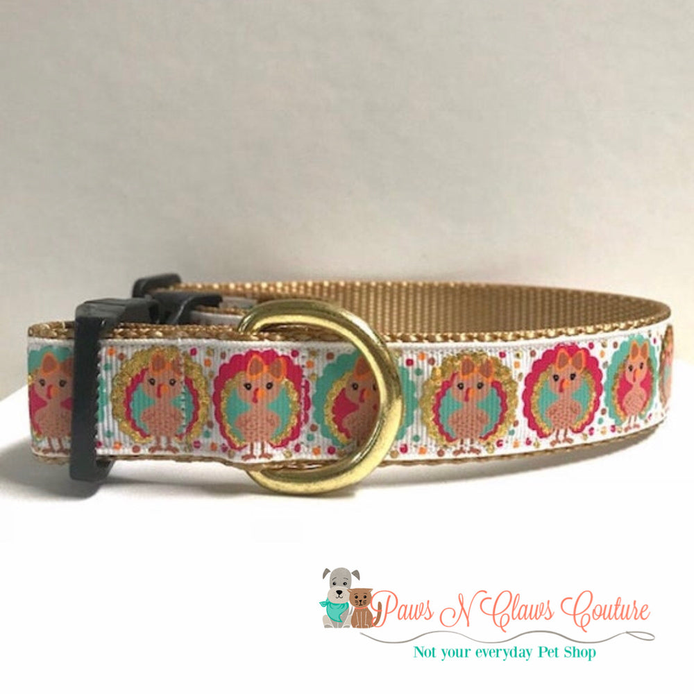 "1"" gold foil turkeys Dog Collar - Paws N Claws Couture"