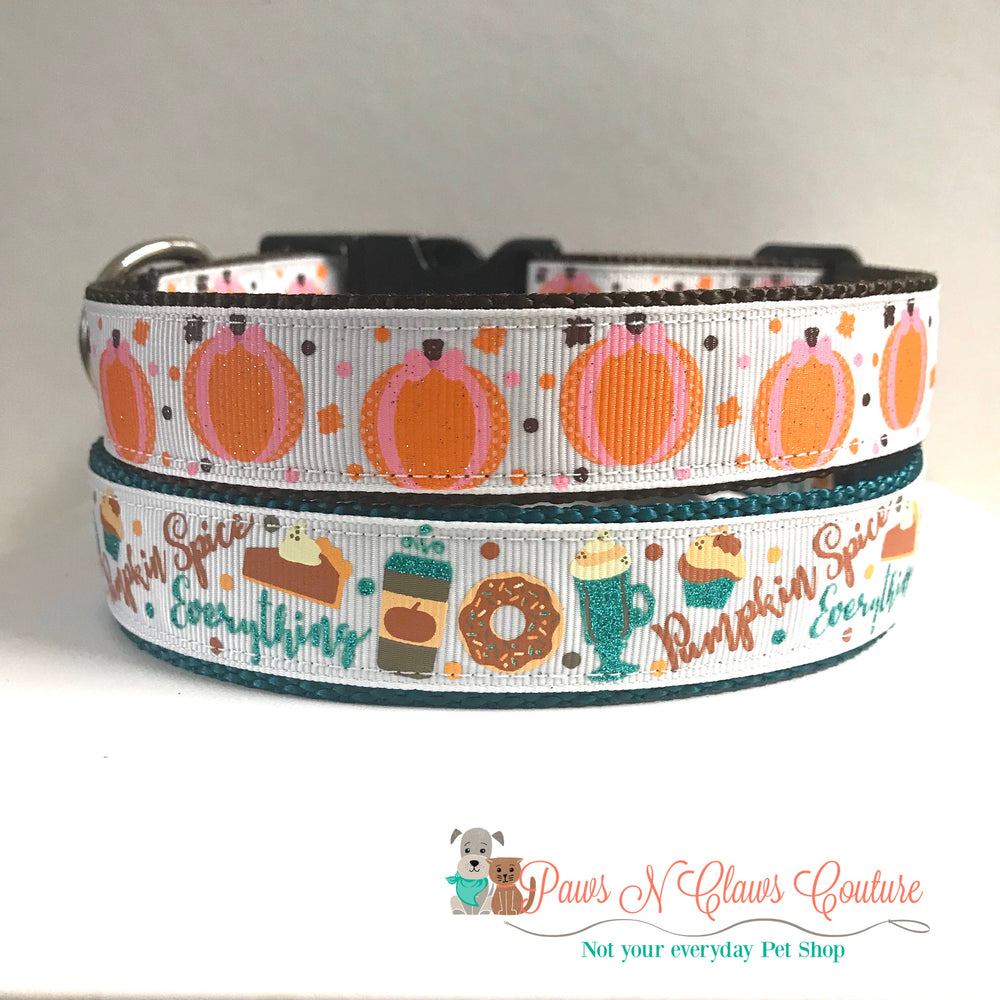 "1""  pumpkin spice everything or pumpkins Dog Collar - Paws N Claws Couture"