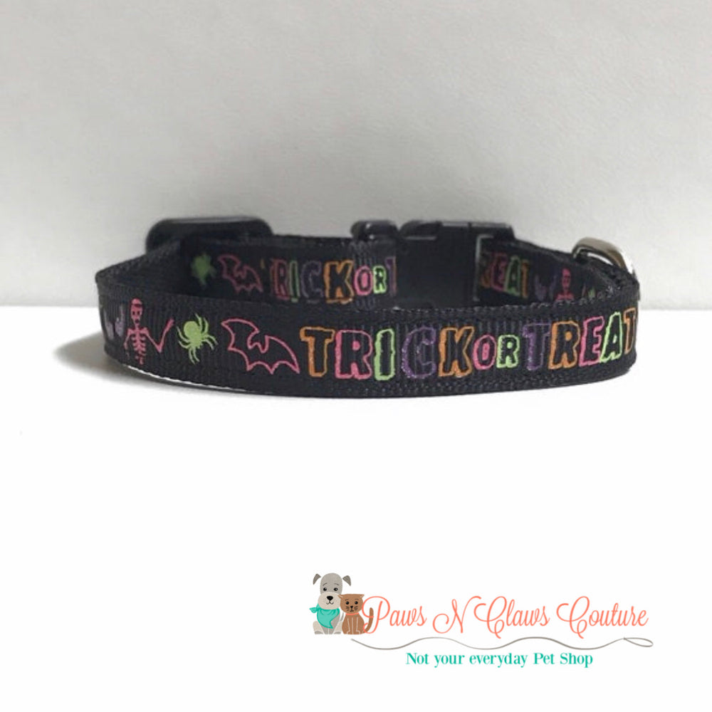 "3/8"" Trick or Treat Cat or Small Dog Collar - Paws N Claws Couture"