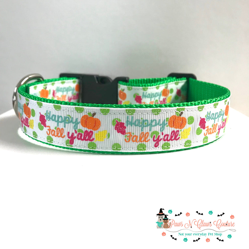 "1"" Happy fall y'all or pumpkins with designs Dog Collar - Paws N Claws Couture"