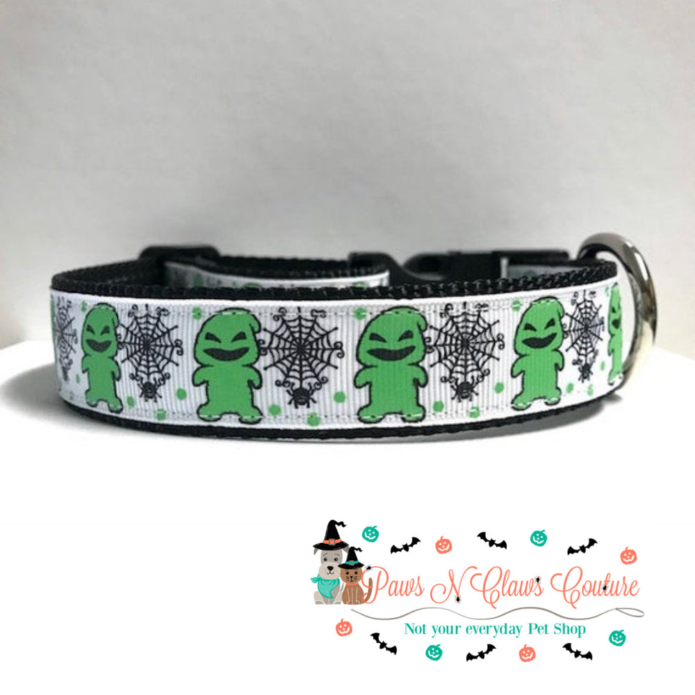"1"" Ghost and spiders Dog Collar - Paws N Claws Couture"