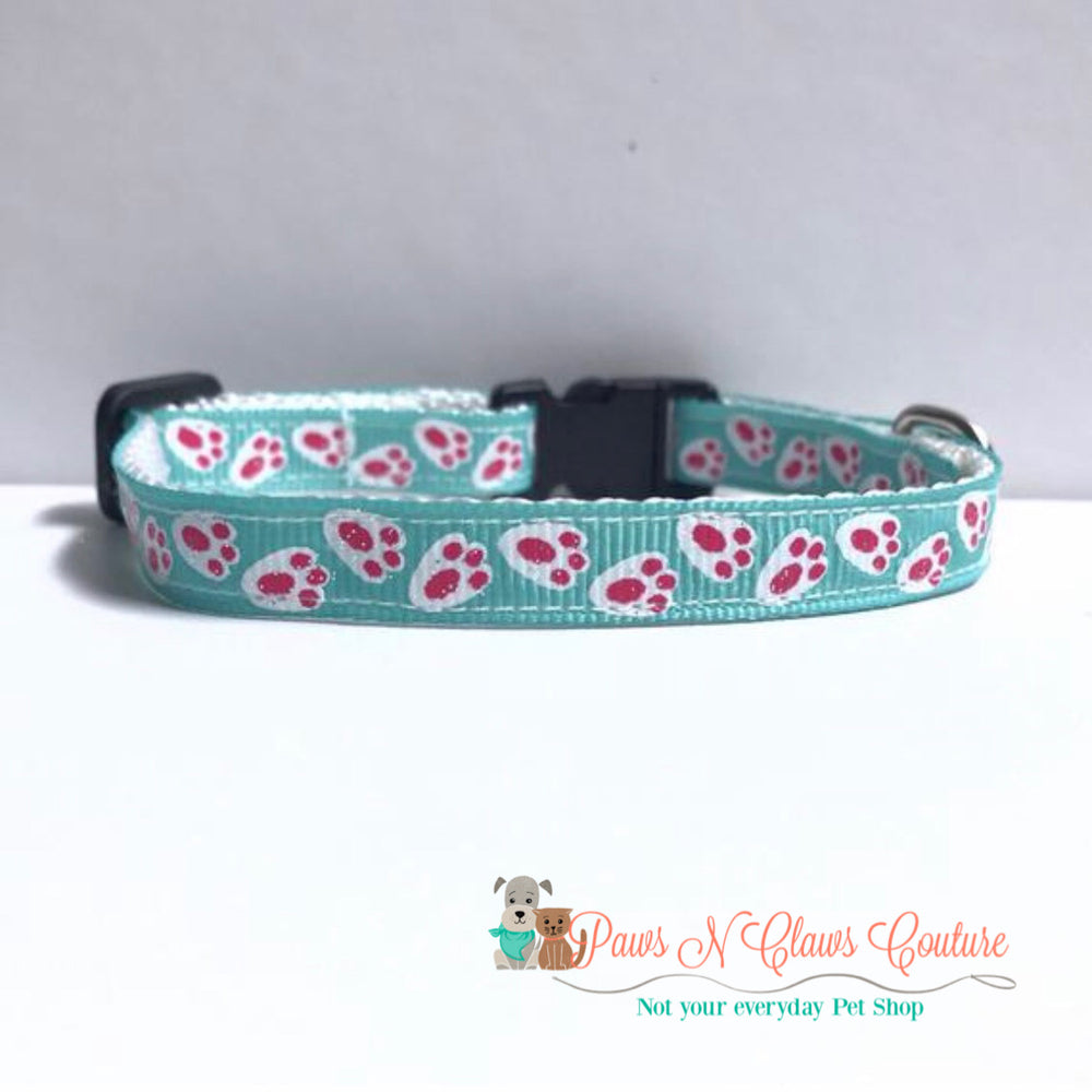 "3/8"" Bunny Tracks Cat or Small Dog Collar - Paws N Claws Couture"