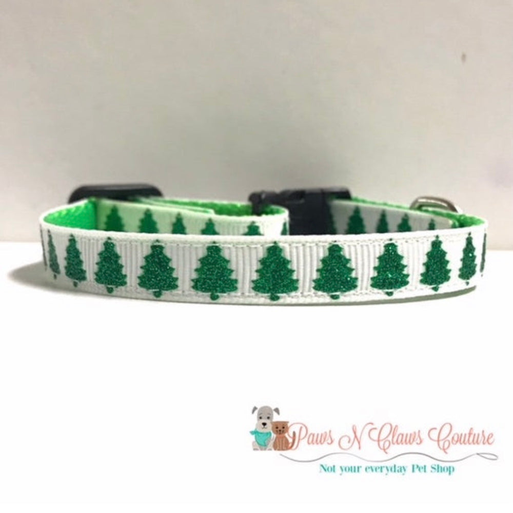 "3/8"" Christmas trees Cat or Small Dog Collar - Paws N Claws Couture"