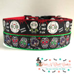 "1""  lake time fun or sugar skulls Dog Collar"