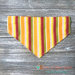Reversible turkeys and stripes Bandana - Paws N Claws Couture