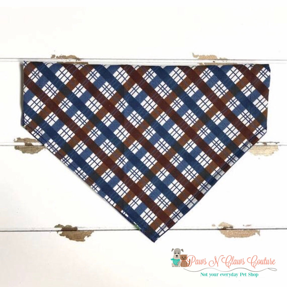Reversible plaid deer head on navy Bandana - Paws N Claws Couture