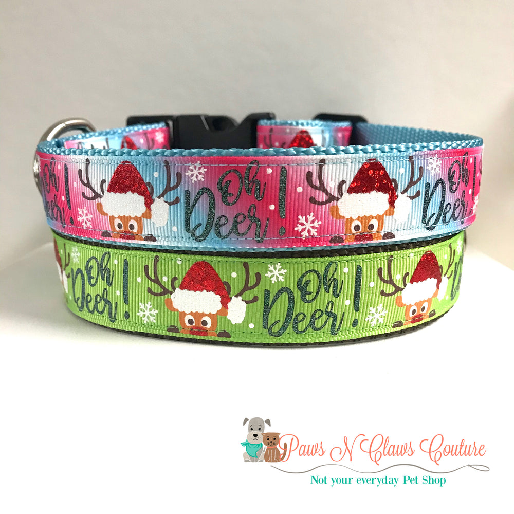 "1"" Oh Deer! Dog Collar - Paws N Claws Couture"