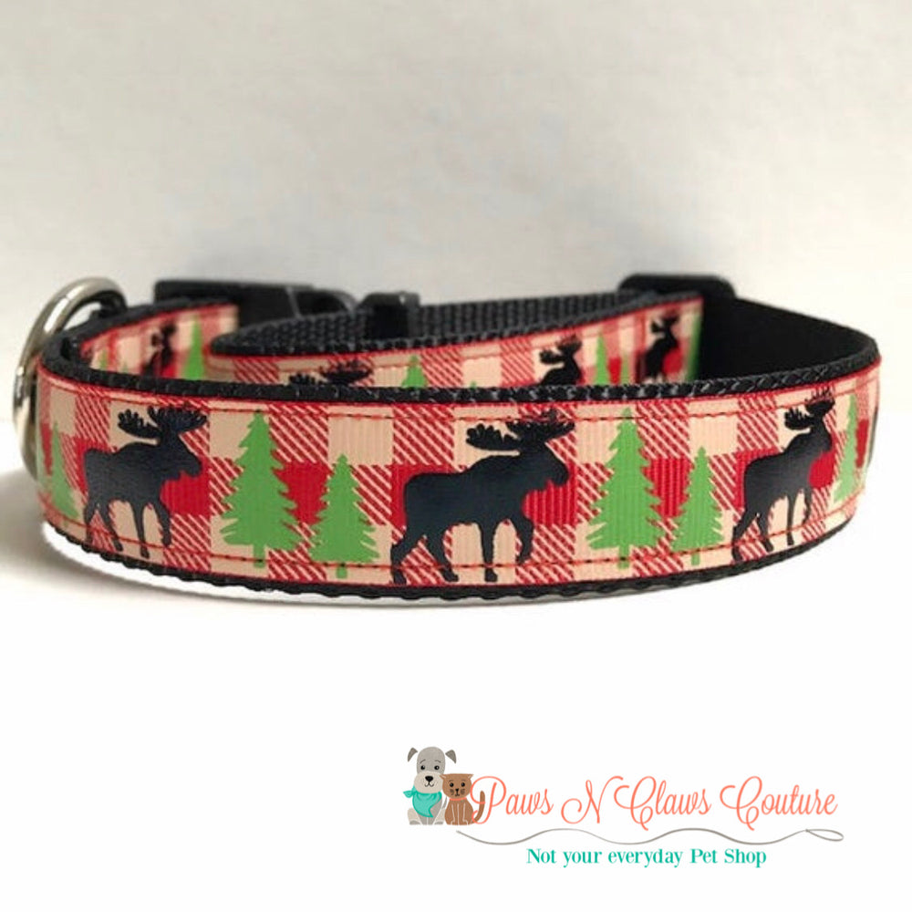 "1"" Moose on Red Plaid Dog Collar - Paws N Claws Couture"