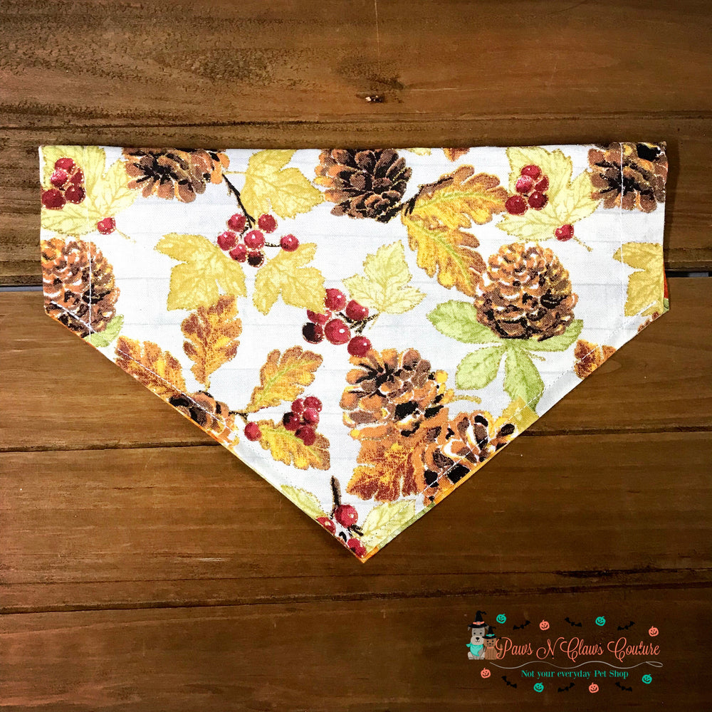 Reversible glitter pinecones and leaves Bandana - Paws N Claws Couture