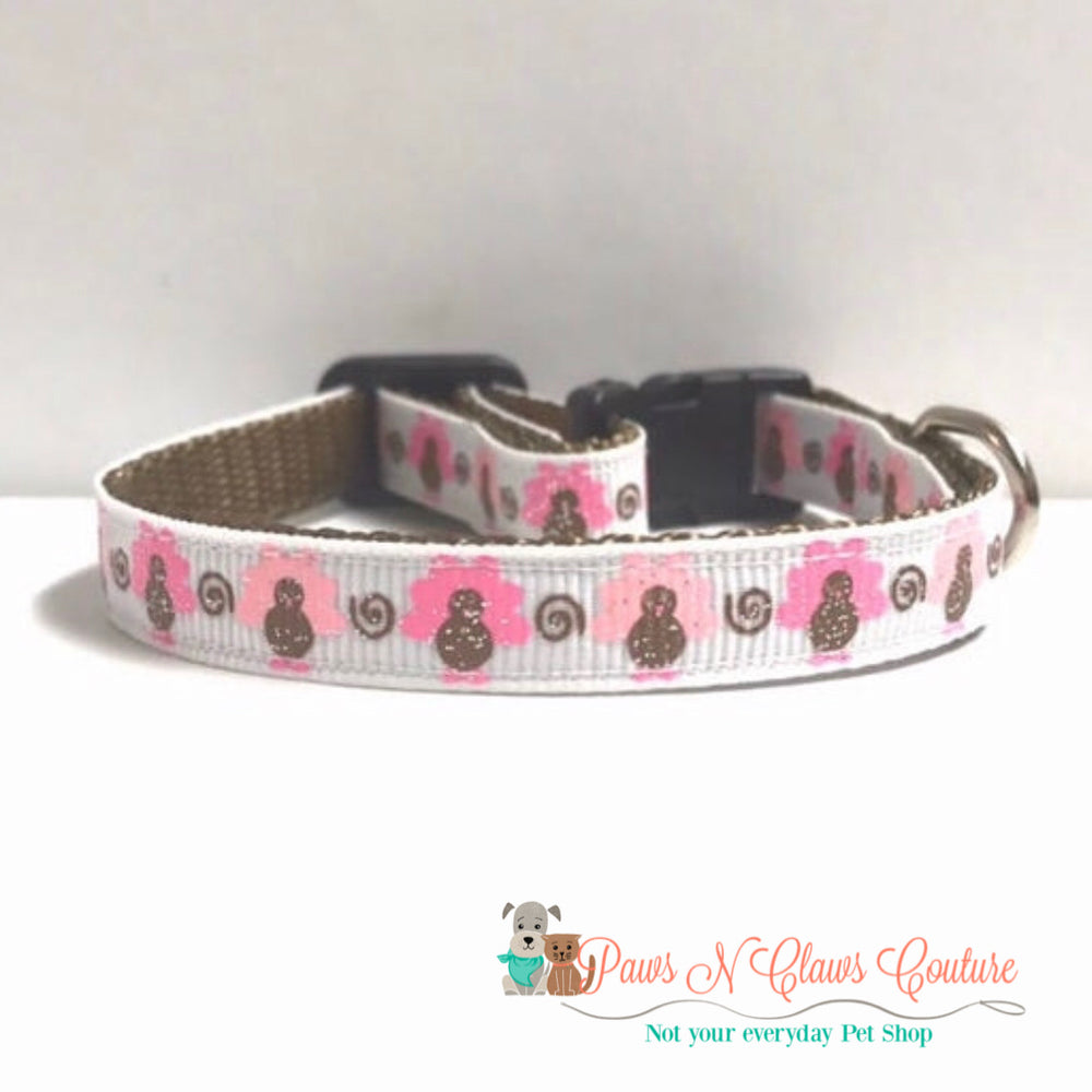 "3/8""  Turkeys in pink Cat or Small Dog Collar"