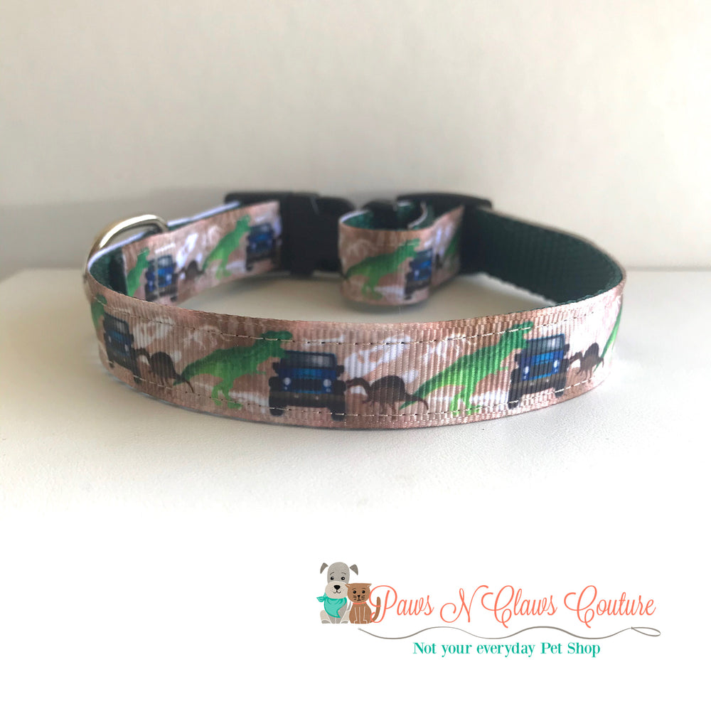 "5/8"" Dino Adventure Dog Collar - Paws N Claws Couture"