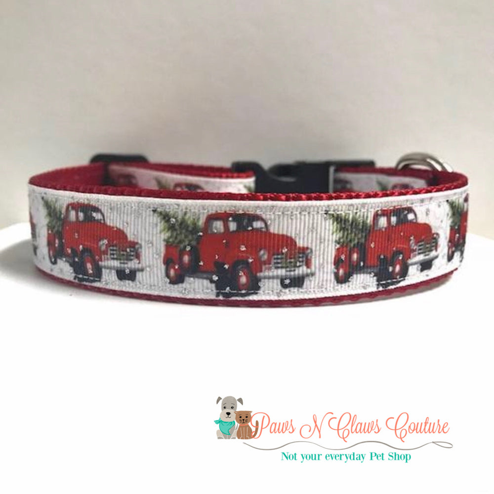 "1"" Red Truck and Christmas tree Dog Collar"