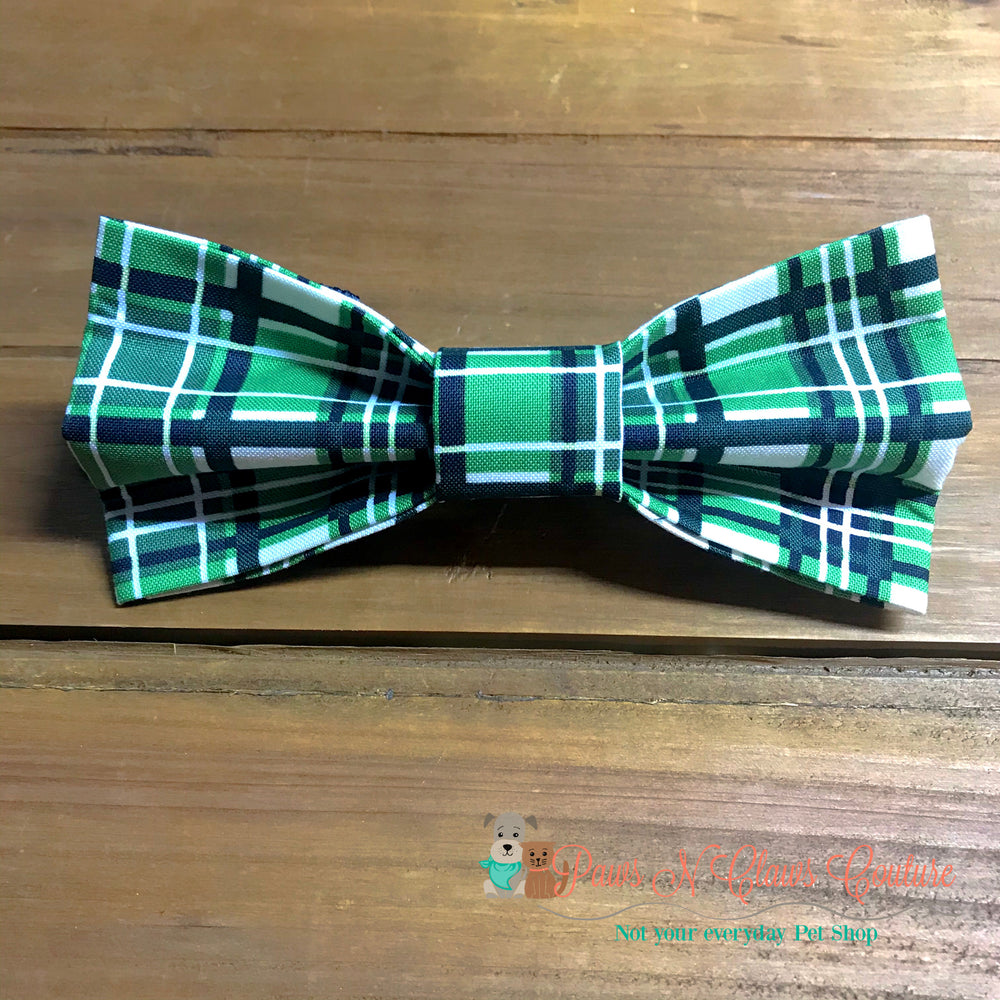Fall Green plaid Bow Tie - Paws N Claws Couture