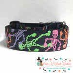 "1.5"" Neon skeletons Dog Collar"