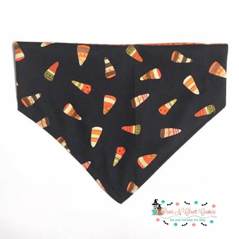 Reversible halloween candy corn Bandana - Paws N Claws Couture