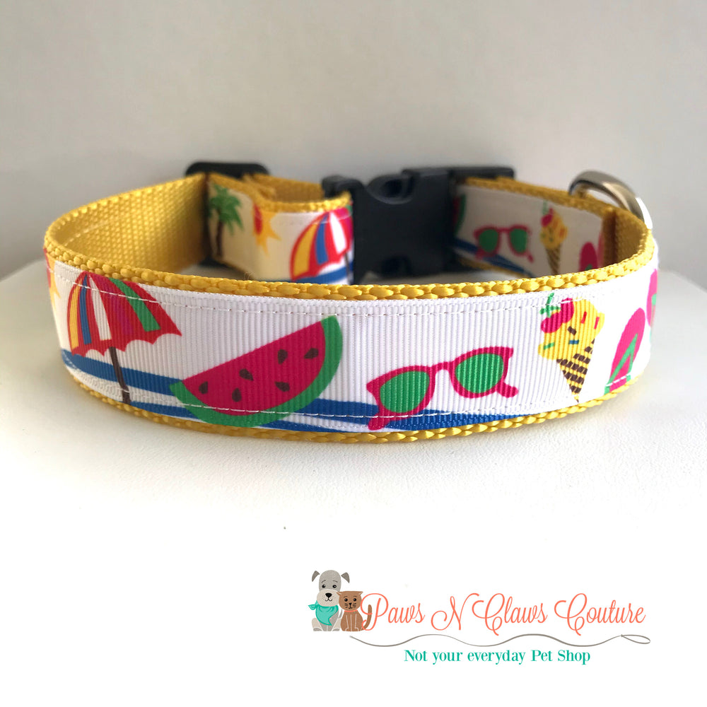 "1"" Beach day Dog Collar - Paws N Claws Couture"