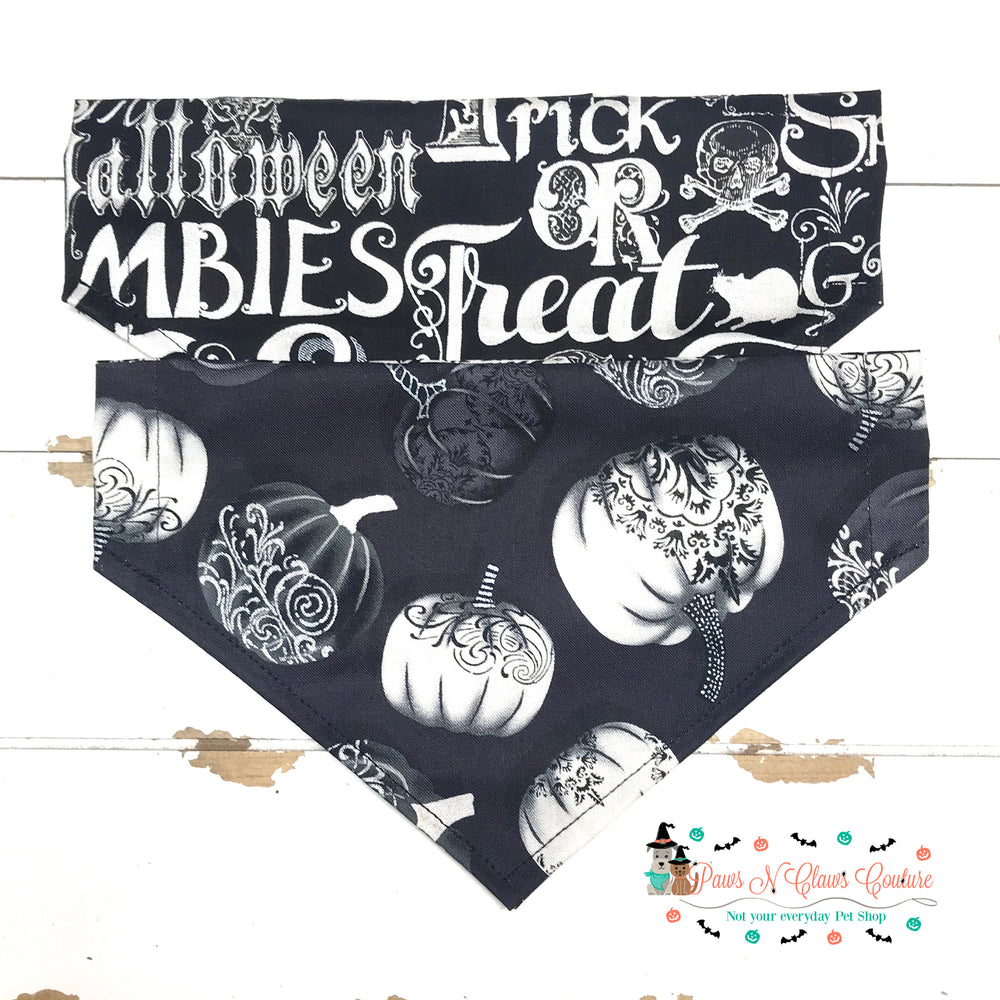 Reversible Gothic pumpkins Bandana - Paws N Claws Couture