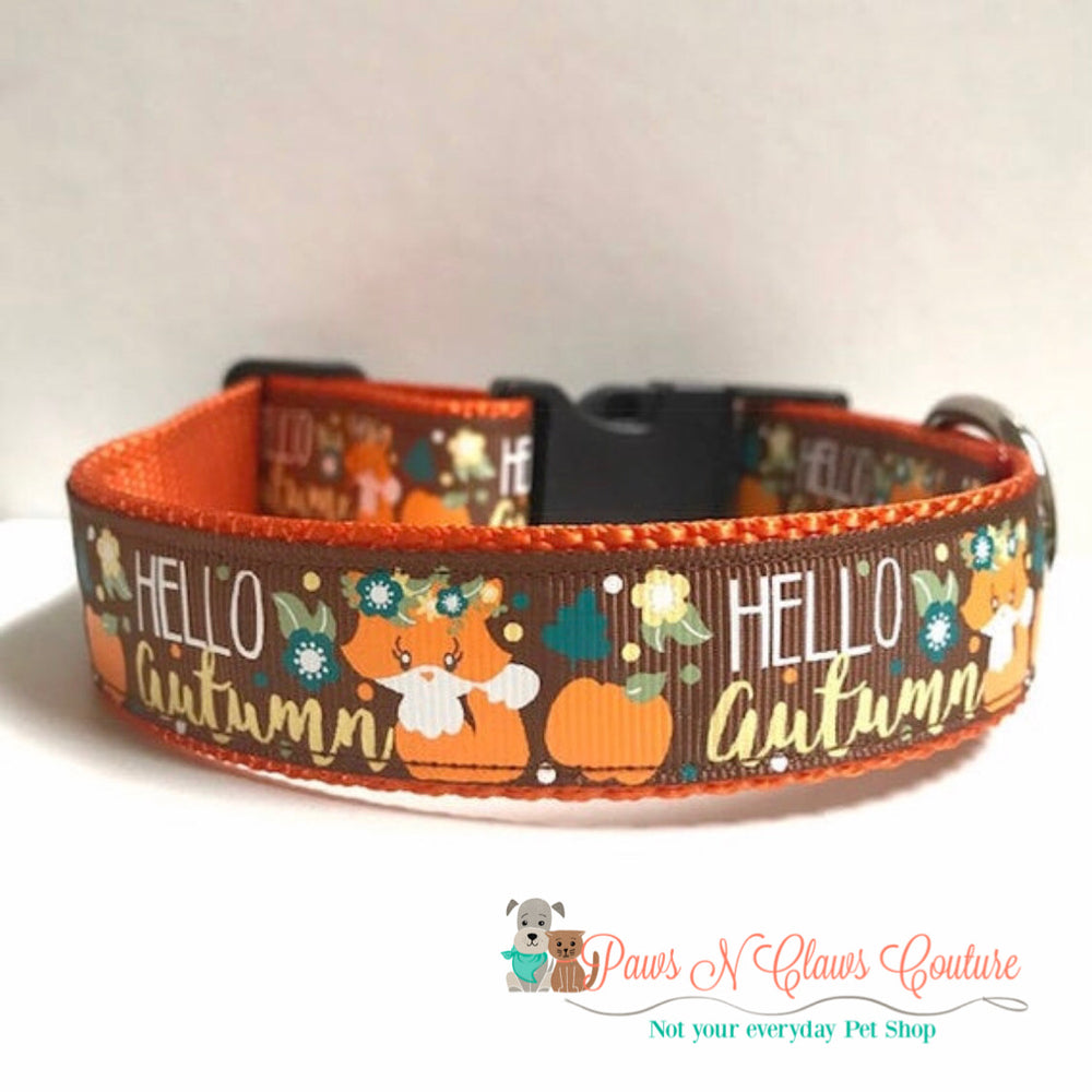 "1"" Hello Autumn Fox Dog Collar - Paws N Claws Couture"