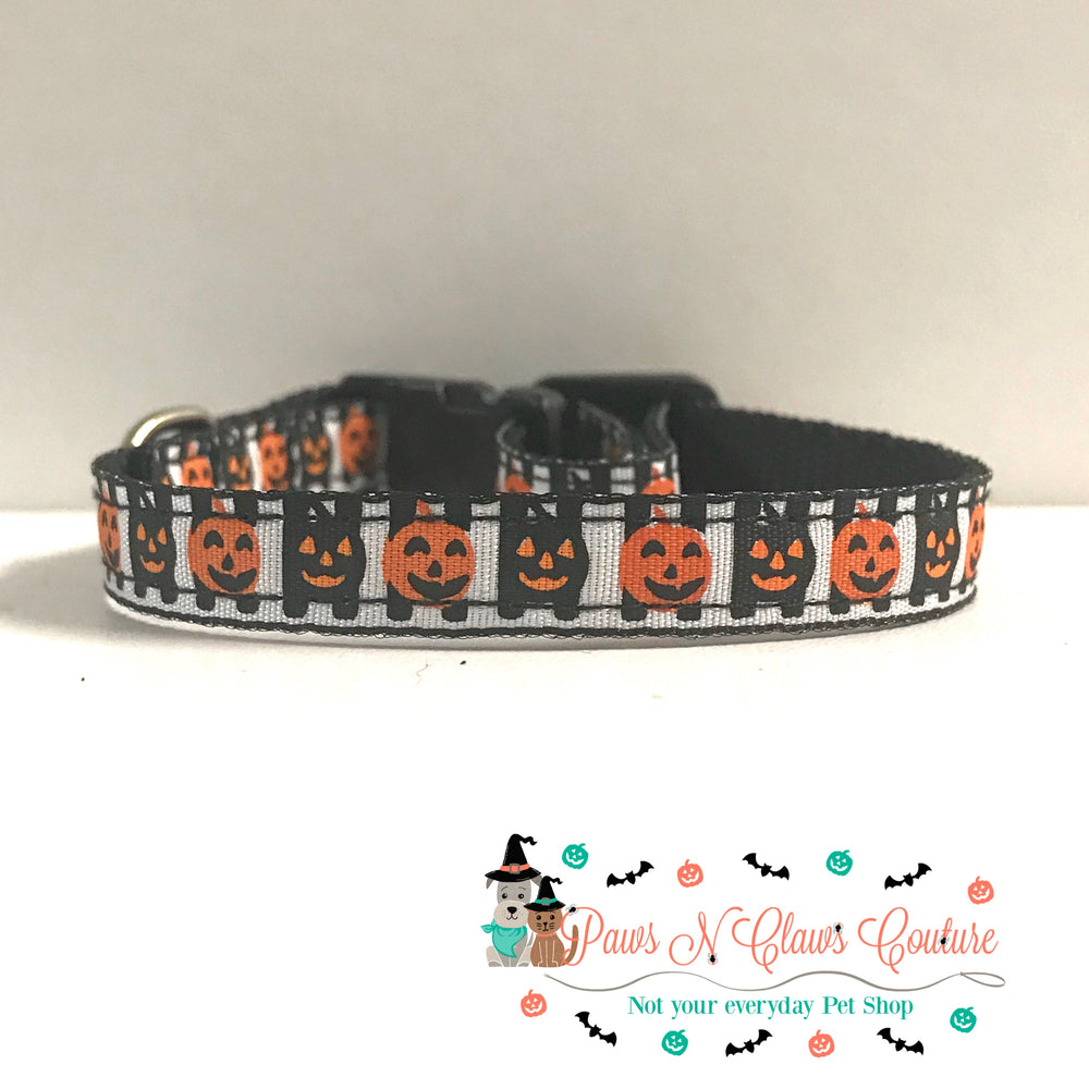 "3/8"" Jacks and stripes Cat or Small Dog Collar - Paws N Claws Couture"