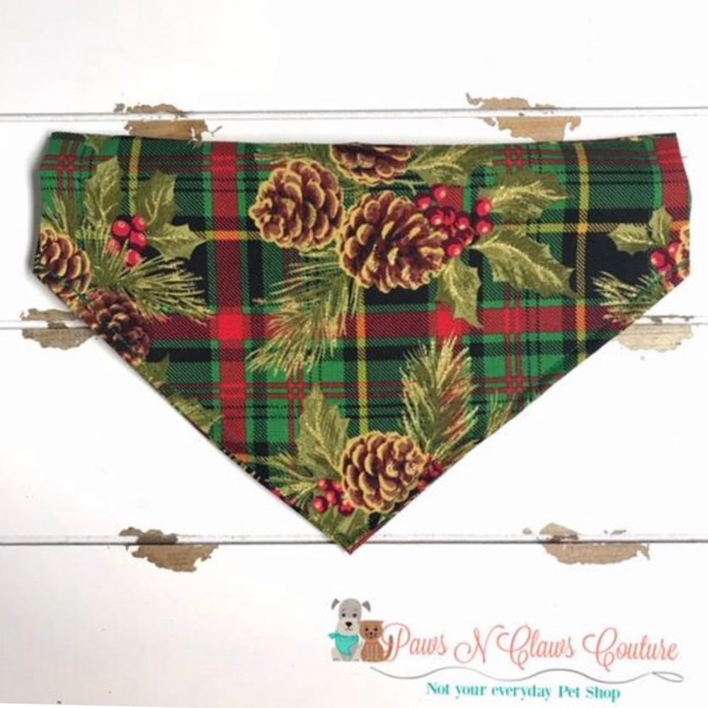 Glitter pinecones and plaid Bandana