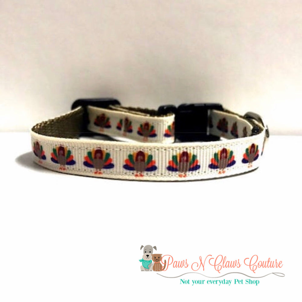 "3/8"" Thanksgiving turkeys Cat or Small Dog Collar - Paws N Claws Couture"
