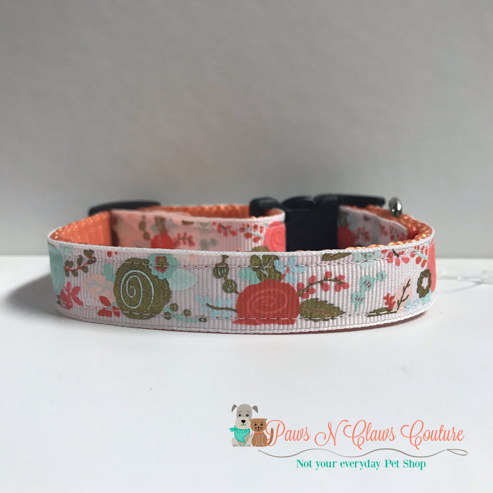 "5/8"" Roses Dog Collar - Paws N Claws Couture"