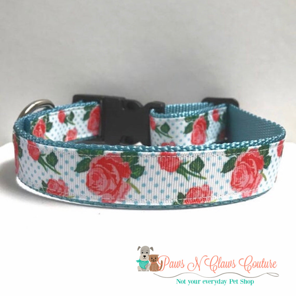 "1"" Roses and dots Dog Collar - Paws N Claws Couture"