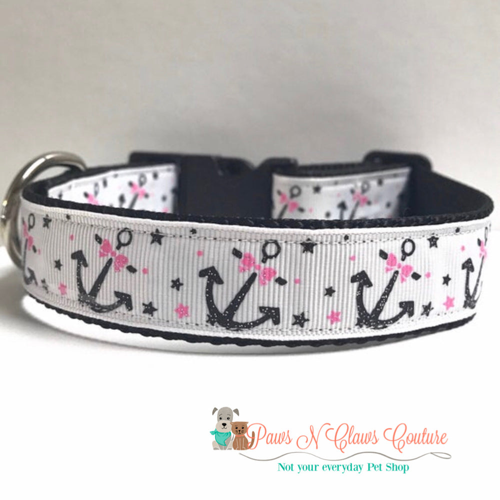 "1"" Anchors with bows Dog Collar - Paws N Claws Couture"