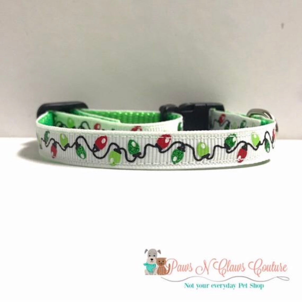 "3/8"" Christmas lights Cat or Small Dog Collar - Paws N Claws Couture"
