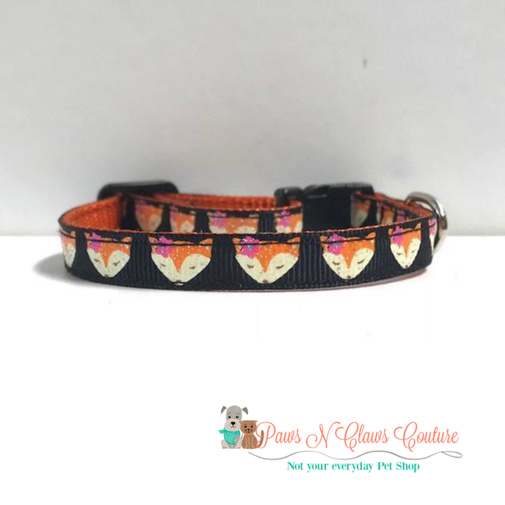 "3/8"" Foxy Cat or Small Dog Collar - Paws N Claws Couture"