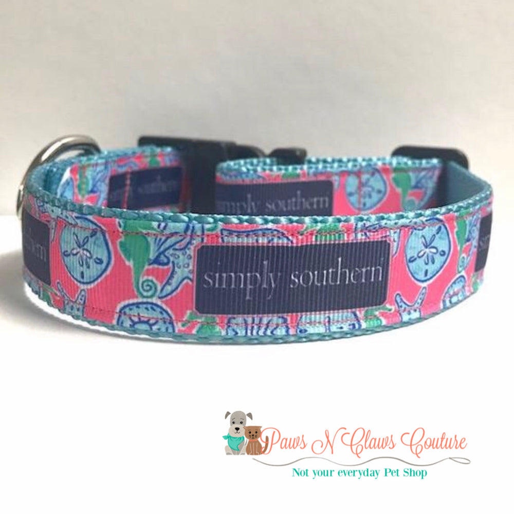 "1"" preppy shells Dog Collar - Paws N Claws Couture"