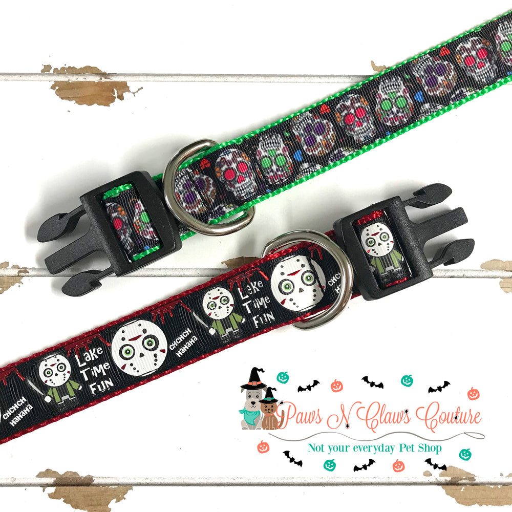 "1""  lake time fun or sugar skulls Dog Collar - Paws N Claws Couture"