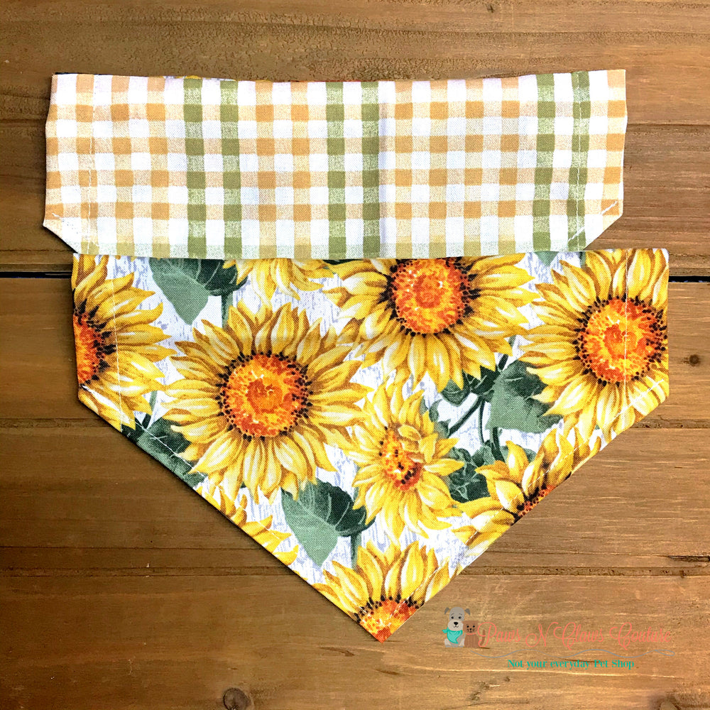 Reversible plaid and sunflower Bandana - Paws N Claws Couture
