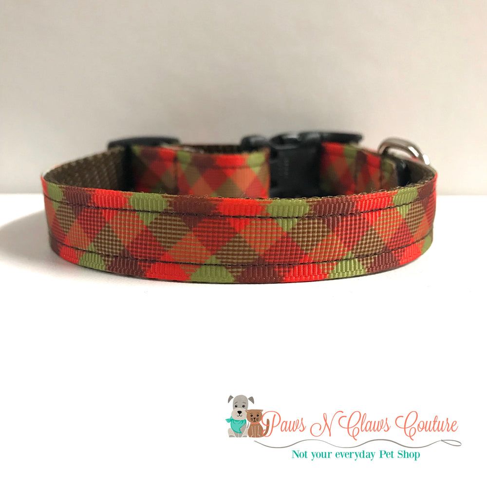 "5/8"" Sunflowers or fall plaid Dog Collar - Paws N Claws Couture"