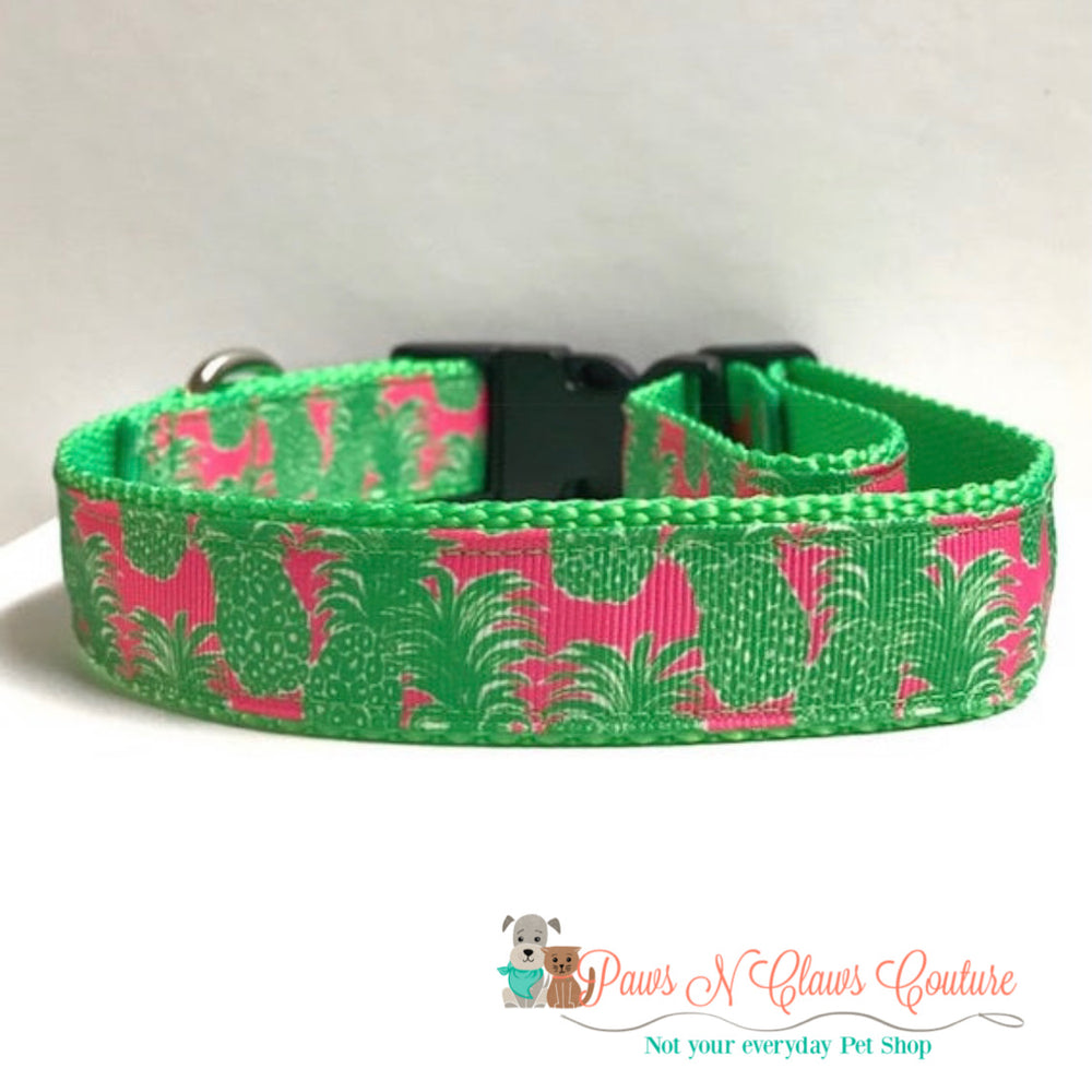 "1"" Pink and green pineapple, lily inspired Dog Collar"