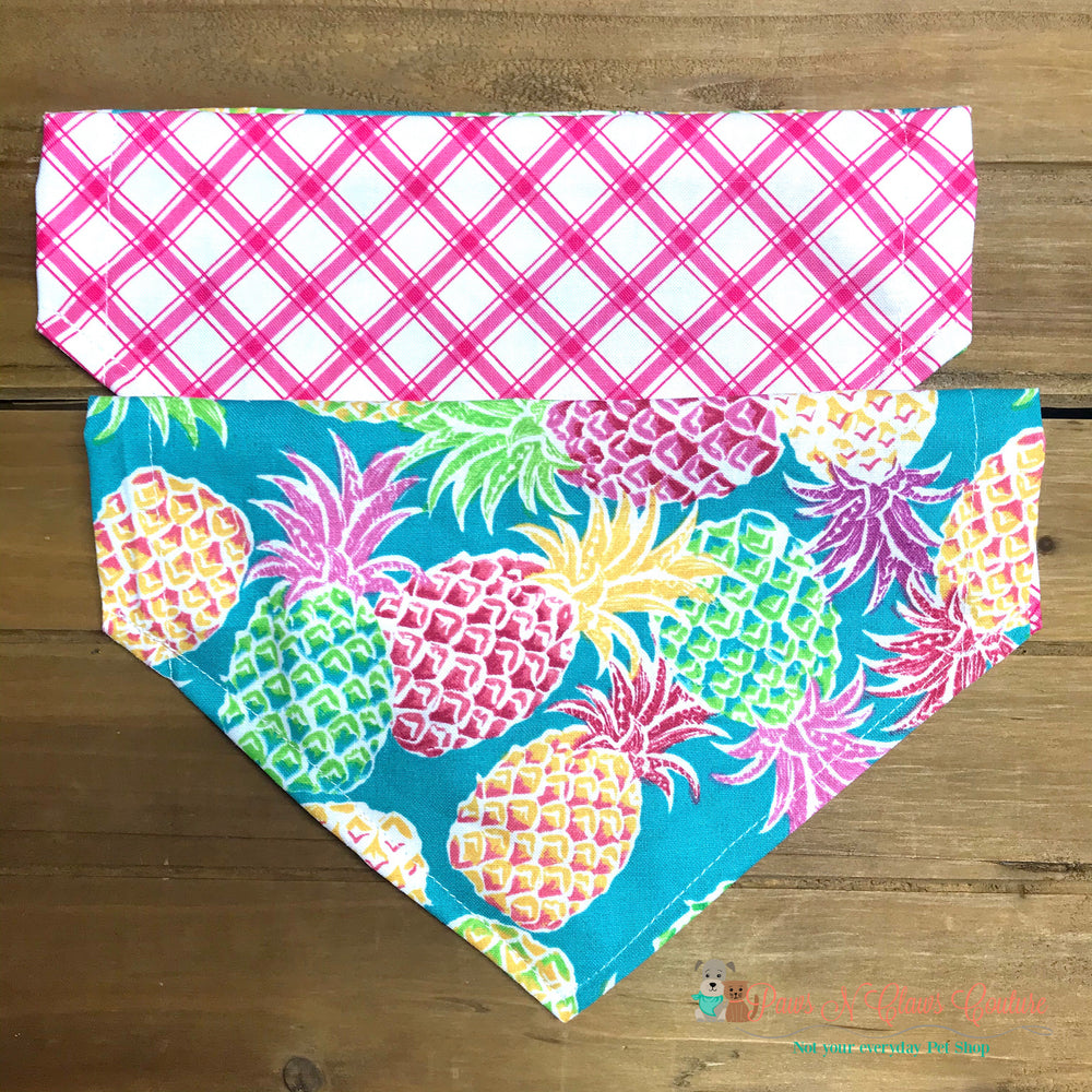 Reversible pineapple & plaid Bandana - Paws N Claws Couture