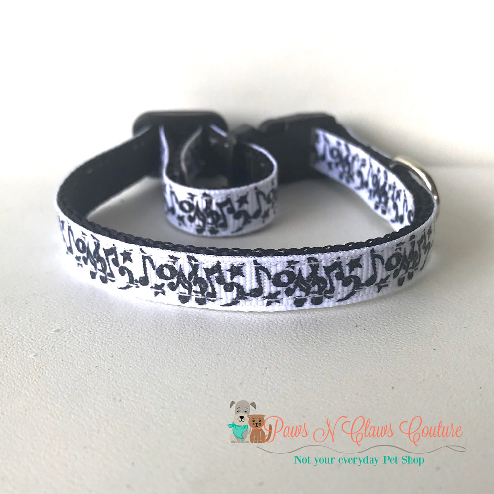 "3/8"" Music notes Cat or Small Dog Collar - Paws N Claws Couture"