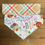 Reversible fall plaid and fall wishes Bandana - Paws N Claws Couture
