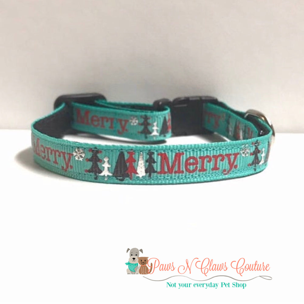 "3/8"" Merry Cat or Small Dog Collar - Paws N Claws Couture"