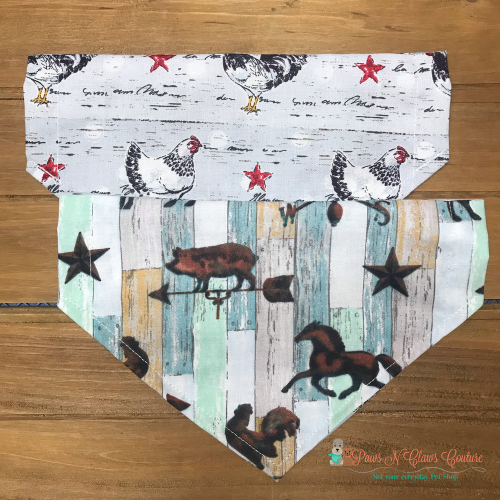 Reversible rustic farm animals Bandana - Paws N Claws Couture